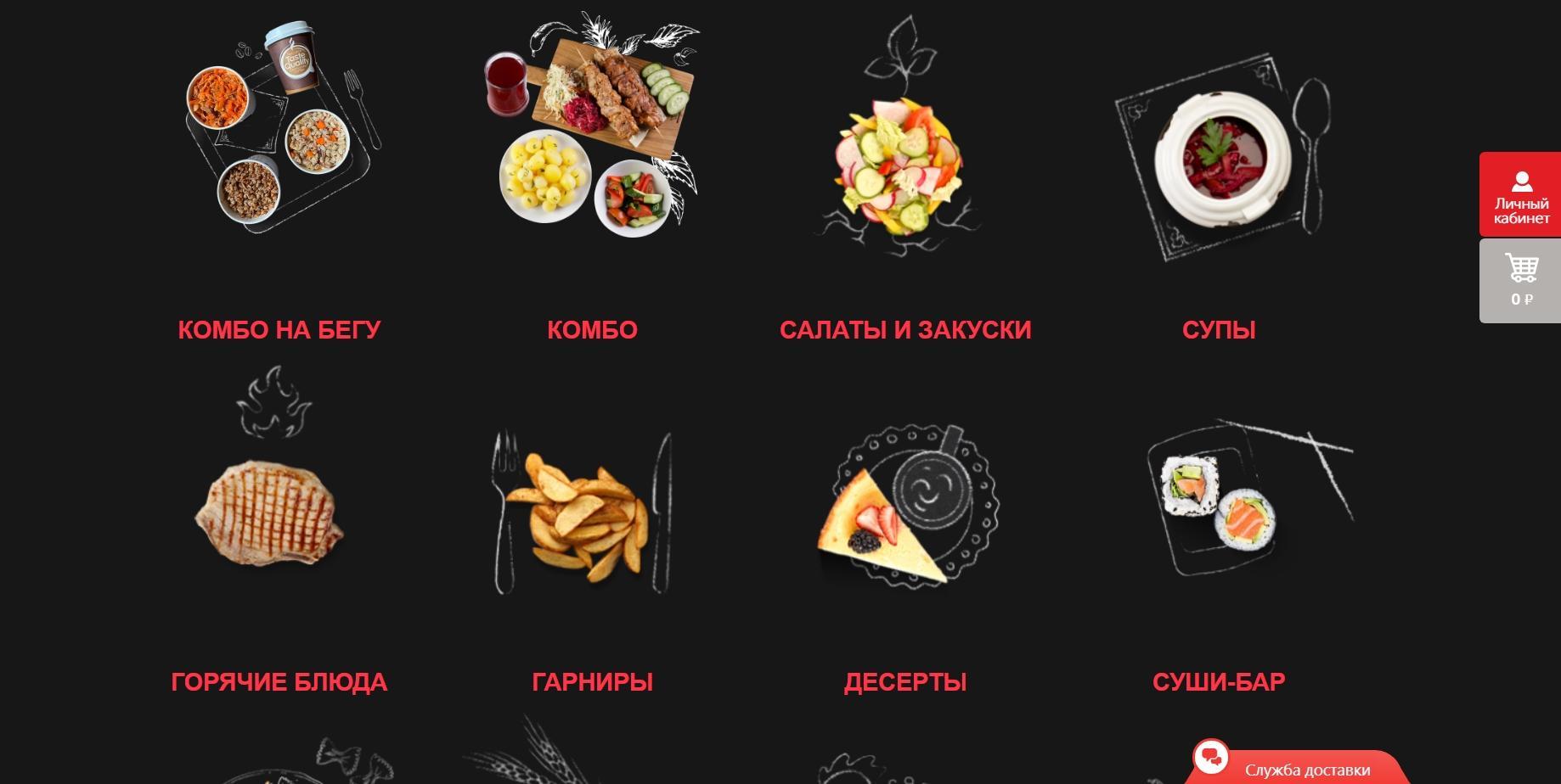 Выбор категории блюд