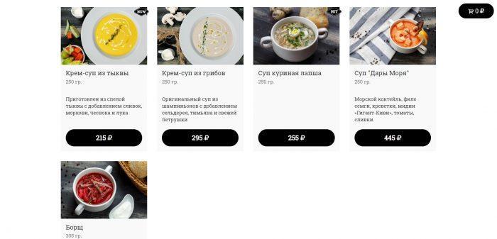 Доступные блюда категории