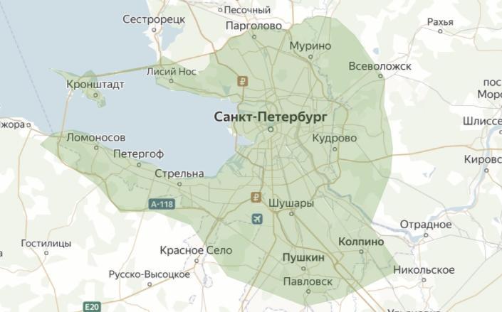 Зона доставки в Санкт-Петербурге
