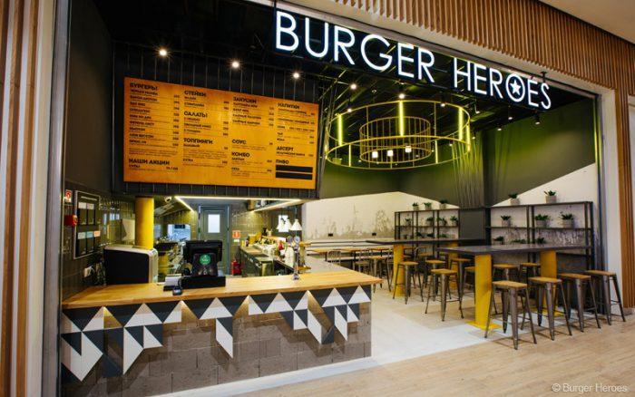 Интерьер бургерной Burger Heroes