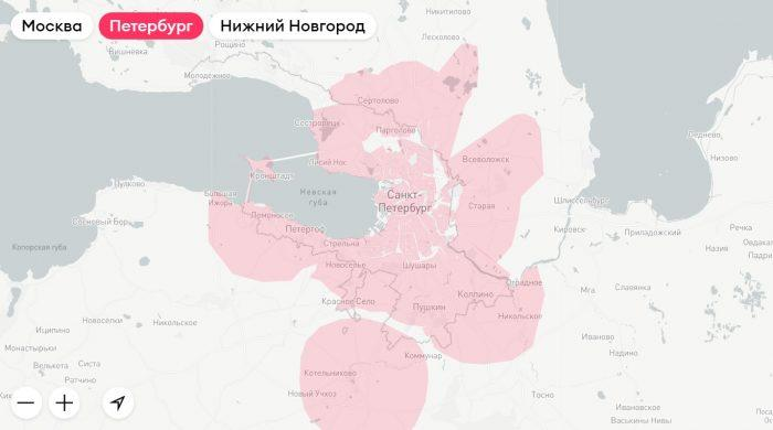 Зона доставки сервиса «Самокат» в Санкт-Петербурге