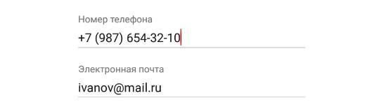 Номер телефона и электронная почта