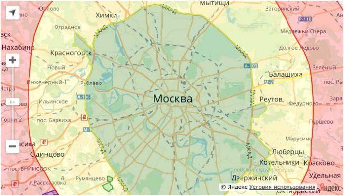 Зона доставки в Москве
