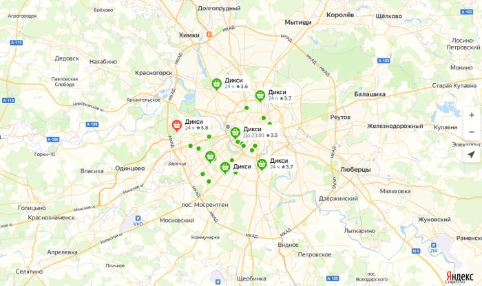 Адреса магазинов «Дикси» на карте
