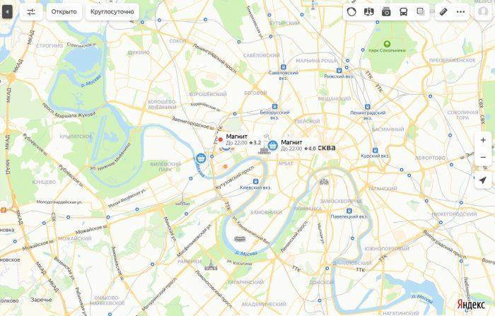 Адреса на карте Москвы