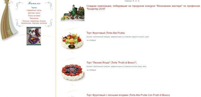 Каталог тортов «Итальянского сада»