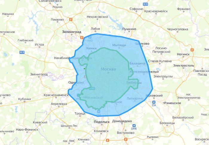 Зоны доставки BeFit в Москве